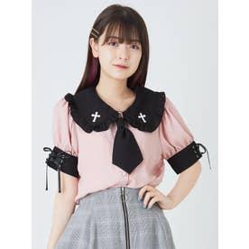 ネクタイ付配色ブラウス(ピンク)