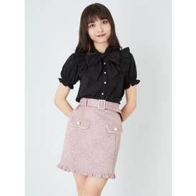 パールバックルベルトJQ台形スカート (ピンク)