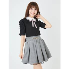 ビット付きタックギャザースカート (ブラック)
