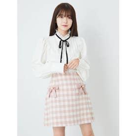起毛チェックスカート (ピンク)