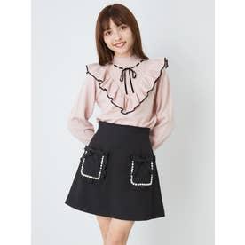 パールトリムポケットスカート (ブラック)