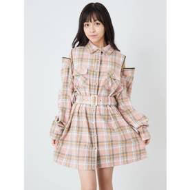 肩ZIPチェックシャツワンピース (ピンク)