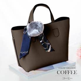 3wayショルダーハンドバッグ バック レディース ファー スカーフ カバン 鞄 肩掛け 通勤 OL 上品 スーツ 【vl-5137】 (コーヒー)