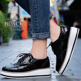 厚底オックスフォードシューズ レディース 靴 カジュアル エナメル 床革 可愛い 大人 上品 きれいめ (ブラック)