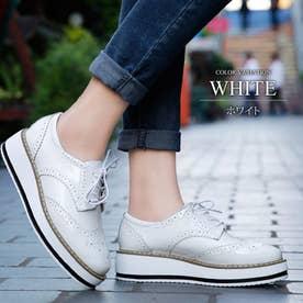 厚底オックスフォードシューズ レディース 靴 カジュアル エナメル 床革 可愛い 大人 上品 きれいめ (ホワイト)