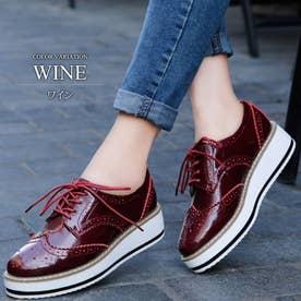 厚底オックスフォードシューズ レディース 靴 カジュアル エナメル 床革 可愛い 大人 上品 きれいめ (ワイン)