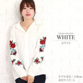 花柄刺繍ブラウス (ホワイト)