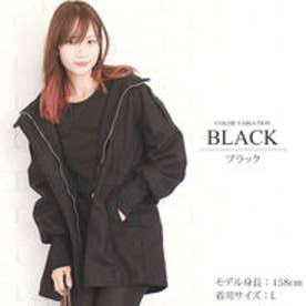 フード付きリブニットコート (ブラック)