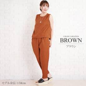 セットアップ風オールインワン 美シルエット ファッション レディース かわいい ノースリーブ カジュアル【S/S】【vlo-5331】 (ブラウン)