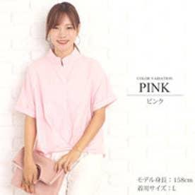 シンプルサマーブラウス韓国ファッションレディース夏用通気性抜群シンプルゆったり【vl-5208】【S/S】 (ピンク)
