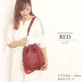 2way巾着ショルダーバッグ韓国ファッションレディース大容量持ちやすい肩掛けシンプル【vl-5215】 (レッド)