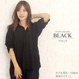 ゆったりロングシャツ韓国ファッションレディース通気性動きやすい上品ふんわり【vl-5258】【S/S】 (ブラック)