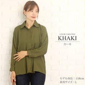 ゆったりロングシャツ韓国ファッションレディース通気性動きやすい上品ふんわり【vl-5258】【S/S】 (カーキ)