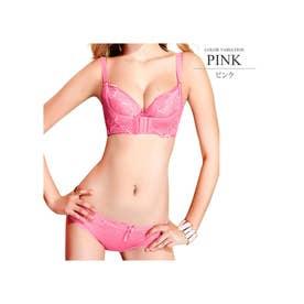 育乳フロントホックブラショーツセット 下着 レディース 女性 バストアップ ブラジャー 谷間 盛れる ナイト 垂れ胸 盛り (ピンク)【返品不可商品】