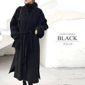ウエストマークチェスターコート アウター ベーシック コート ロング丈 レディース 秋 冬 (ブラック)