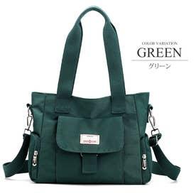 2WAYキャンバスバッグ A4 大容量 便利 鞄 トート ショルダー シンプル レディース (グリーン)