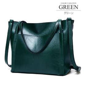 外ポケット付き2WAY PUバッグ トート ショルダー 通勤 鞄 A4 シンプル レディース (グリーン)