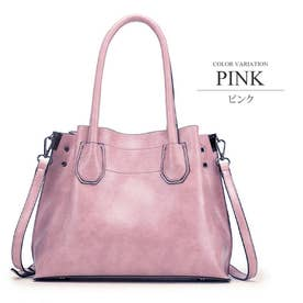 2WAY PUバッグ ショルダー ハンド 通勤 鞄 カジュアル シンプル レディース (ピンク)