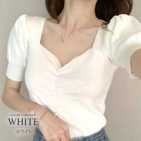ショート丈ニットカットソー トップス きれいめ かわいい 半袖 レディース 夏 (ホワイト)