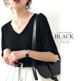 リブニットトップスVネック カジュアル きれいめ オフィス ファッション 半袖 レディース (ブラック)