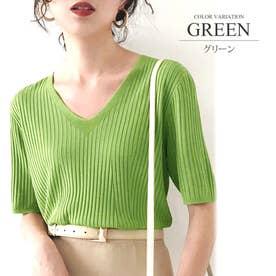 リブニットトップスVネック カジュアル きれいめ オフィス ファッション 半袖 レディース (グリーン)