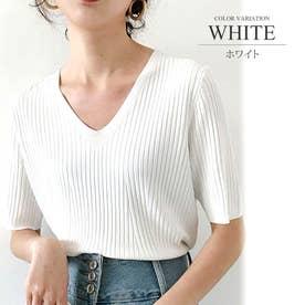 リブニットトップスVネック カジュアル きれいめ オフィス ファッション 半袖 レディース (ホワイト)