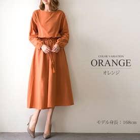 無地長袖ワンピース ミモレ丈 シャツ ひざ下 ゆったり オフィス レディース (オレンジ)