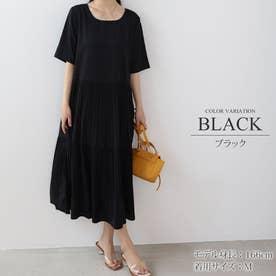 ティアードワンピース シンプル プリーツ 半袖 かわいい レディース 夏 (ブラック)