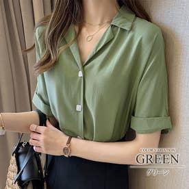 ロールアップスリーブシャツ シンプル おしゃれ かわいい 春 夏 レディース (グリーン)