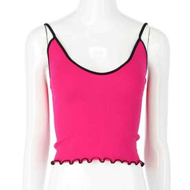 裾メロウパイピングシームレスキャミソール(ピンク)