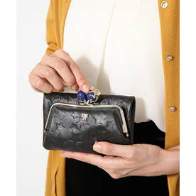 プレイングキャット 外口金二つ折り財布 ブラック
