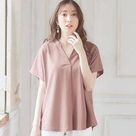 【4つの機能付】スキッパーTシャツブラウス (ピンク)