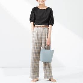 綿100%パフ袖Tシャツ (ブラック)