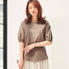 綿100%パフ袖Tシャツ (モカ)