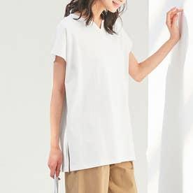 綿100%キーネックゆったりTシャツ (オフホワイト)