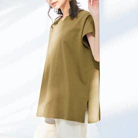 綿100%キーネックゆったりTシャツ (ライトカーキ)