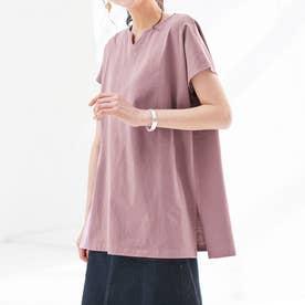 綿100%キーネックゆったりTシャツ (モーブ)