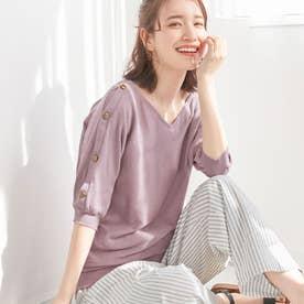 【UVカット】綿100%肩ボタンドルマンサマーニット (ピンク)