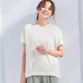 綿100%裾タックデザイントップス (オフホワイト)