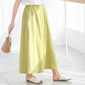 綿100%スカート風ワイドパンツ (ライムイエロー)