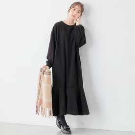【蓄熱保温】裏ファー裾フレアーゆったりワンピース (ブラック)