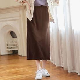 【蓄熱保温】裏ファー楽ちんロングタイトスカート (ブラウン)