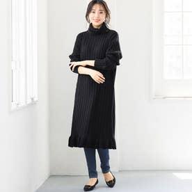 裾フリルニットワンピース (ブラック)