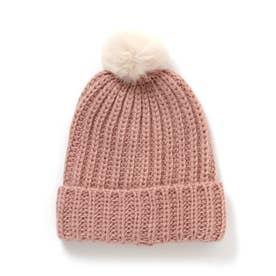 ぽんぽんニット帽 (ピンク)