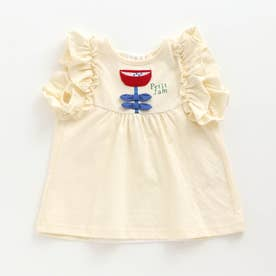 PetitJam袖フリルとリボンのお花チュニック (オフホワイト)