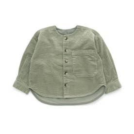 コーデュロイノーカラーシャツジャケット (カーキ)