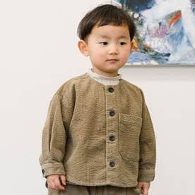 コーデュロイノーカラーシャツジャケット (ブラウン)
