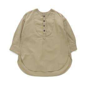 ヨークデザインロングシャツ (カーキ)