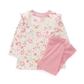 かぶり総柄パジャマ(花柄) (ピンク)