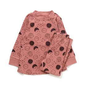かぶりモノトーン総柄パジャマ(クッキー柄) (ピンク)